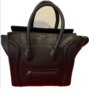 Celine 0120 Paris Black Leather Made in Italy Beau